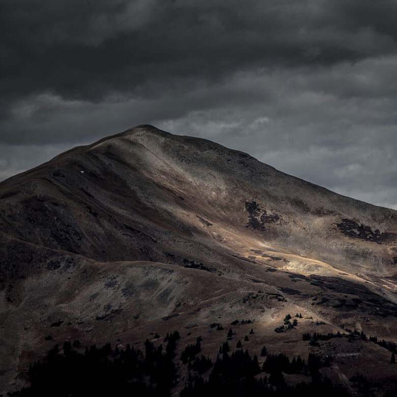 Dark and dramatic mountain side