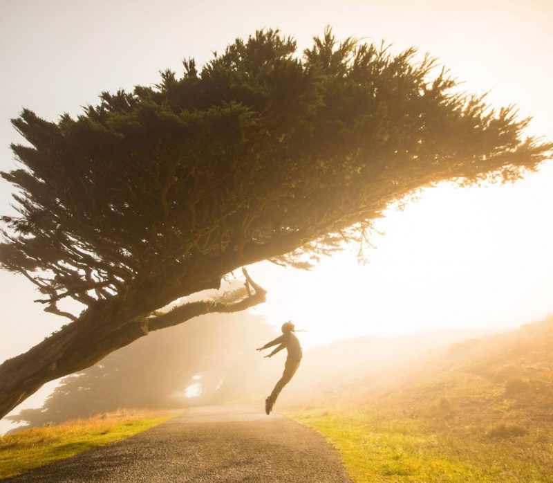 A person free of anxiety jumping under a tree