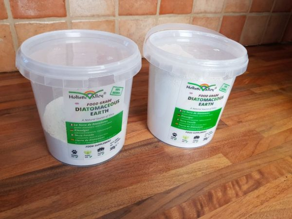 Two tubs of diatomaceous earth