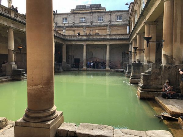 A close view of the Roman Baths in Bath, Somerset