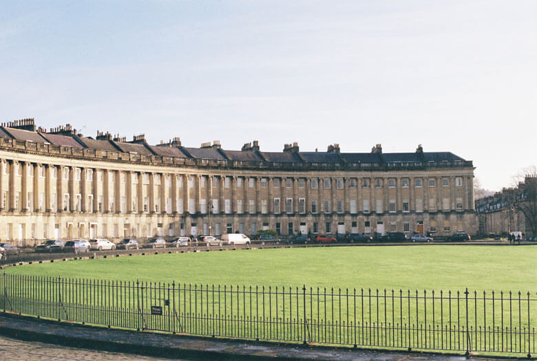 A side view of Royal Crescent in Bath, Somerset